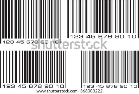 Set of 4 bar code labels. Vector illustration. - stock vector