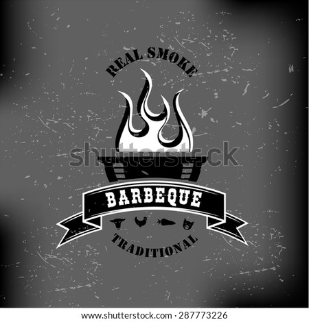 Set of Barbecue BBQ logo, stamp, retro poster, food menu package design  - stock vector