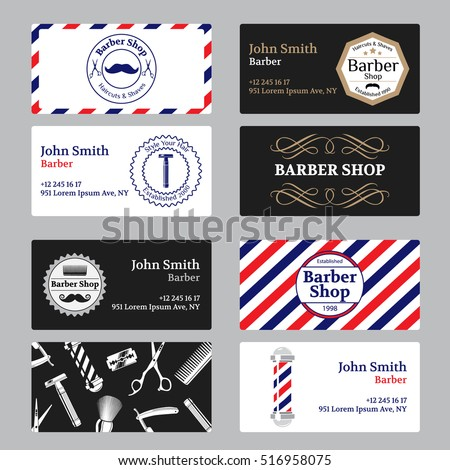 Set barber shop business card on stock photo photo vector set of barber shop business card on black and white background template barber shop business wajeb Image collections