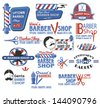 Set of Barber Shop Signs, Symbols and Icons in CMYK red, blue, white and black, featuring the popular symbols like barber shop pole, razor, scissors and mustache - stock photo