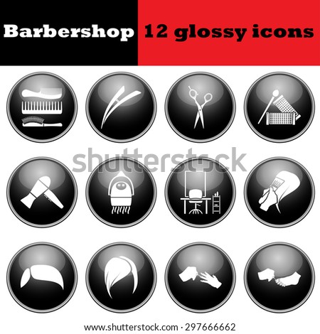 Set of barbershop glossy icons. EPS 10 vector illustration. - stock vector