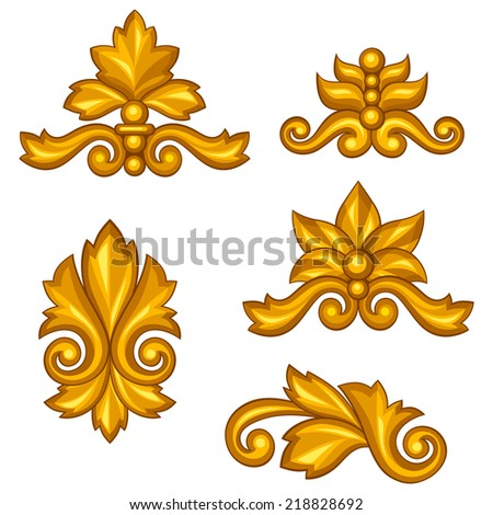 Set of baroque ornamental antique gold scrolls and vignettes. - stock vector
