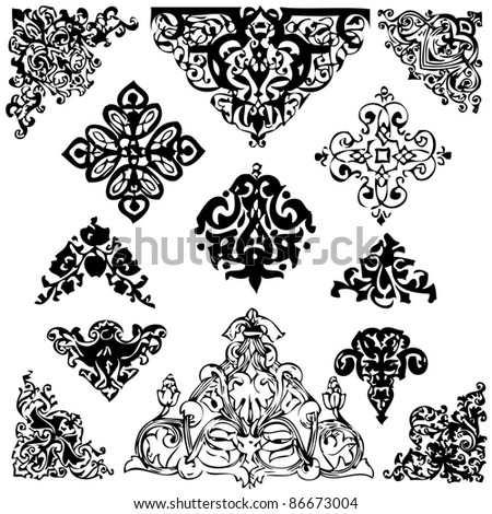 Set of baroque ornaments and  details and  russians monarchy - stock vector