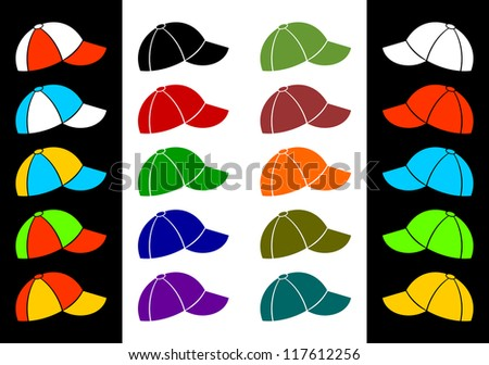 Set of baseball caps of different color on a black and white background. - stock vector
