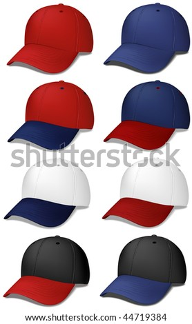 Set of Baseball Caps - realistic vector illustrations