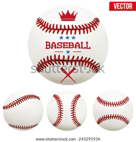 Set of baseball leather balls. Vector Isolated on white background. - stock vector