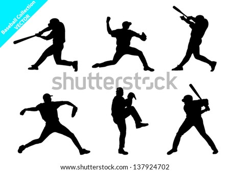 Set of Baseball Players Vector Silhouettes - stock vector