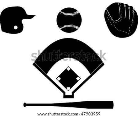 Set of Baseball Silhouettes - stock vector