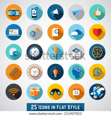 Set of basic icons in flat design for web and mobile application - stock vector