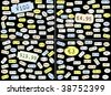 Set of basic price stickers in dollars, sterling, euros and yen - stock vector