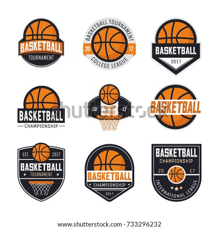 set basketball logos emblems labels design stock vector royalty