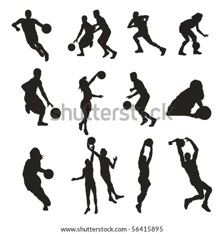set of basketball player silhouettes