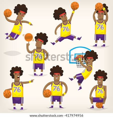 Set of basketball players on different positions. - stock vector