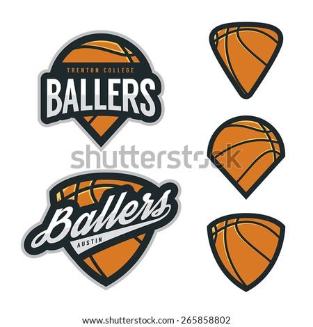 Set of basketball team emblem backgrounds - stock vector