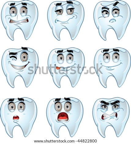 set of batch cartoon dent smiles - stock vector
