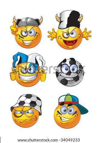 set of batch football round smiles - stock vector