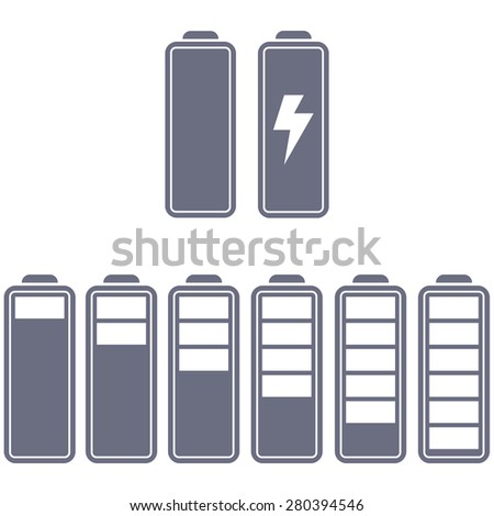 set of batteries, charging, full battery, empty battery, a few sticks of battery different colors. Templates, website, phone - stock vector