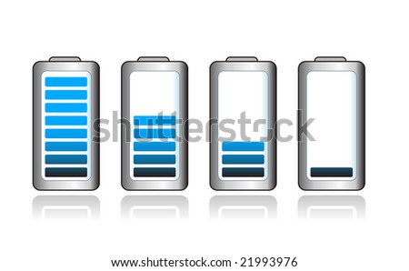 Set of batteries indicating power level - stock vector