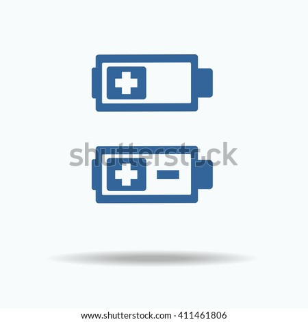 Set of battery charge level indicators. Vector illustration. plus minus - stock vector