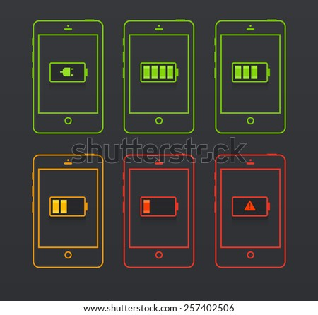 Set of battery icons. EPS 10. RGB. Transparencies