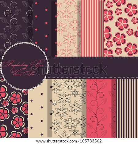 set of beaautiful vector red and blue paper for scrapbook - stock vector