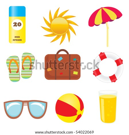 Set of beach and summer icons - stock vector