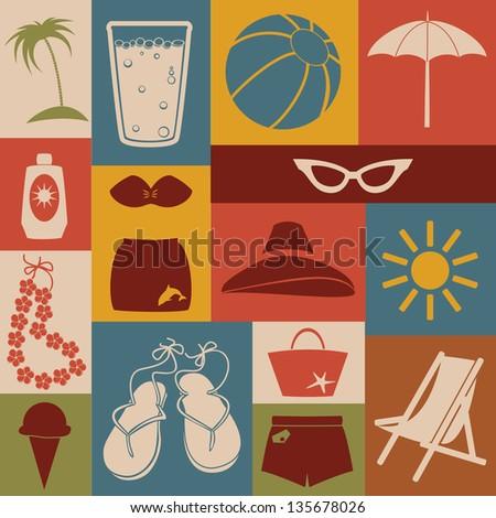 Set of beach icons. Retro style. - stock vector