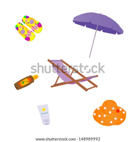 set of beach objects for holiday summer design  - stock vector