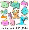 Set of beautiful animal labels over white, vector - stock vector