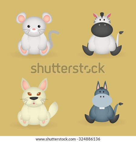 Set of beautiful animals on a colored background - stock vector