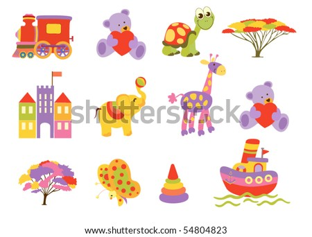 Set of beautiful baby icons - stock vector