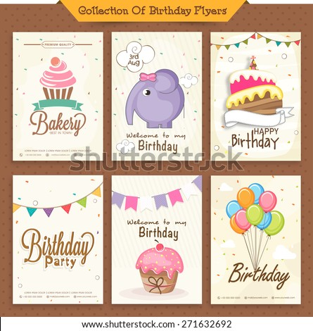 Set of beautiful birthday invitation cards decorated with colorful balloons, cakes and cartoon elephant.  - stock vector