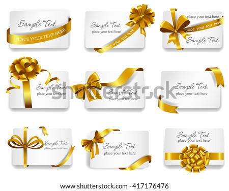 Set of beautiful cards with gold gift bows with ribbons. Vector illustration.  - stock vector