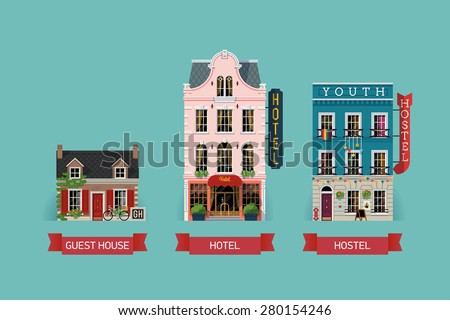Set of beautiful detailed lodging and accommodation building facades with guest house, expensive luxury hotel and low cost youth hostel - stock vector
