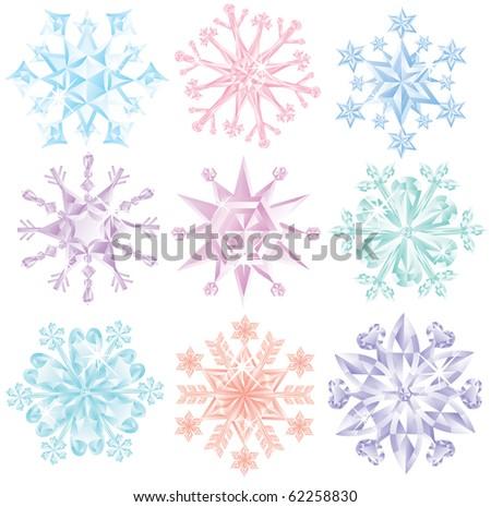 Set of beautiful diamond snowflakes. - stock vector
