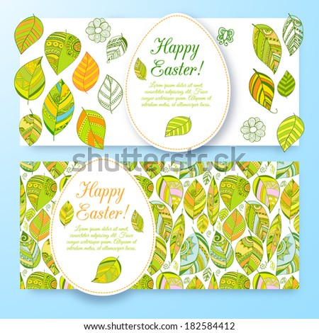 Set of beautiful easter floral banners set with eggs. Doodles ornament theme for your design