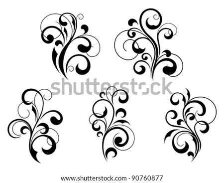 Set of beautiful floral elements and motifs isolated on white background. Jpeg version also available in gallery