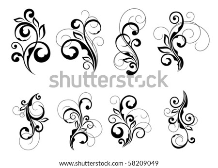 Set of beautiful floral elements. Jpeg version also available in gallery - stock vector