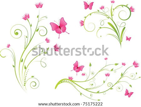 Set of beautiful floral elements with flowers and butterflies - stock vector