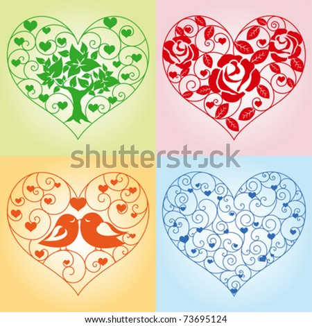 Set of beautiful floral hearts - stock vector