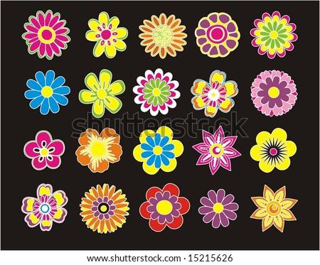 SET OF BEAUTIFUL FLOWER - stock vector