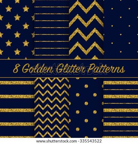 Set of beautiful golden glitter patterns on dark blue background for different festive designs - stock vector