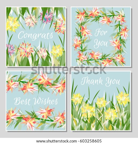 Set beautiful greeting cards exotic tropical stock vector royalty set of beautiful greeting cards with exotic tropical flowers placed in grass or twisted into frames m4hsunfo