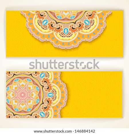 Set of Beautiful Indian ornament banners.EPS10. - stock vector