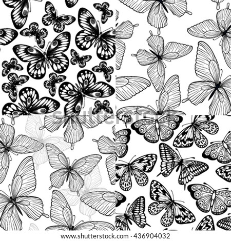 set of beautiful monochrome black and white seamless backgrounds with butterflies. design for greeting card and invitation of the wedding, birthday, Valentine's Day, mother's day and seasonal holidays. - stock vector