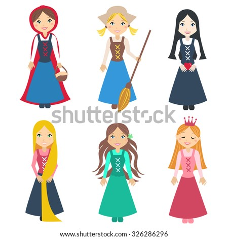 Set Of Beautiful Princesses From Classic Fairy Tale Stories Cute Little Characters Vector Illustration
