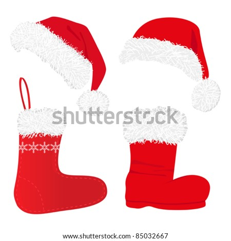 set of beautiful  red christmas caps and socks, isolated on white - stock vector