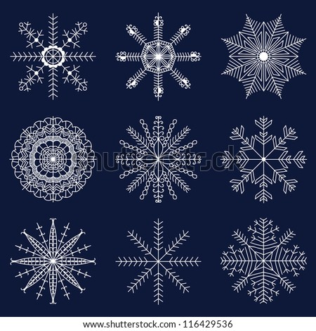 Set of beautiful snowflakes for Christmas. Vector illustration for winter design - stock vector