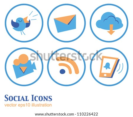 Set of beautiful vector cartoon social icons in orange-blue