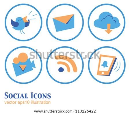 Set of beautiful vector cartoon social icons in orange-blue - stock vector